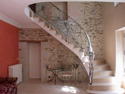 Rampes acier sur escalier bois design contemporain & ferronnerie d'art RP métal creation Blanchard google wordpress