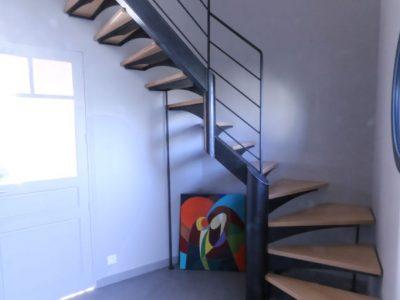 Escalier deux quart tournant acier bois design RP métal creation Blanchard google wordpress