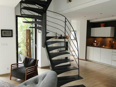 Escalier deux quart tournant acier metalliques design RP métal creation Blanchard google wordpress