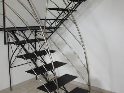Escaliers droits double pallier métalliques design RP métal creation Blanchard google wordpress